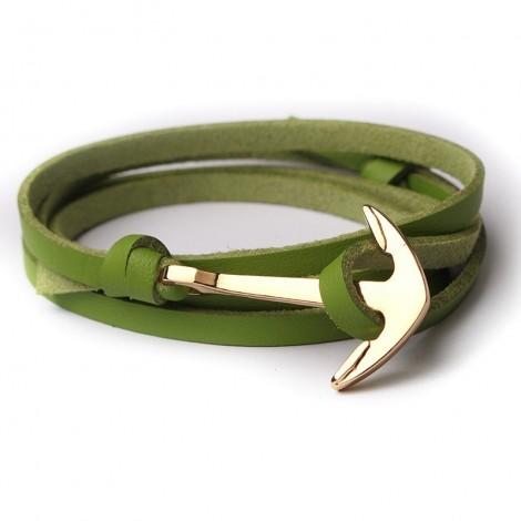 Zöld bőr karkötő arany színű horgonnyal