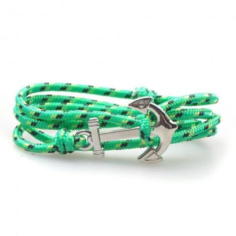 Zöld mintás horgony karkötő
