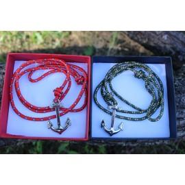 Piros/ Sötétzöld flat páros karkötő