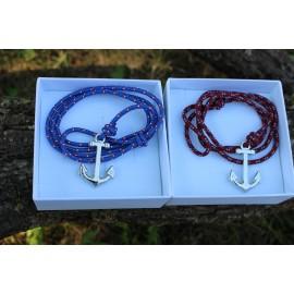 Kék/ Bordó flat páros karkötő